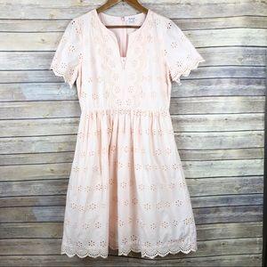 Madewell Eyelet Scalloped Midi Dress Size 8